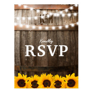 Rustic Country Wedding RSVP | Sunflower Lights Postcard
