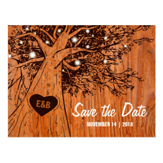 RUSTIC COUNTRY WEDDING SAVE THE DATE | OAK TREE POSTCARD