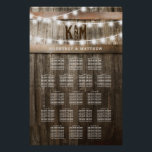 "RUSTIC COUNTRY WEDDING SEATING TABLE CHART<br><div class=""desc"">STRING OF LIGHTS WEDDING SEATING TABLE PLAN POSTER 