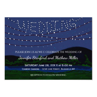 Rustic Country Wedding String Lights Card