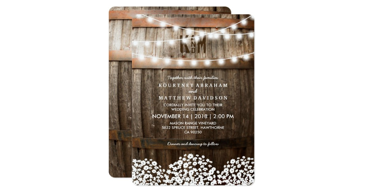 RUSTIC COUNTRY WEDDING STRING OF LIGHTS CARD Zazzle.com