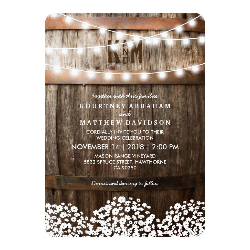 Vineyard Wedding Invitations Rustic Country Wedding Invitations