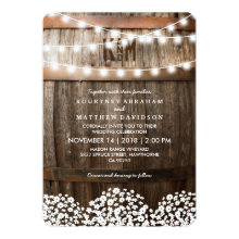 Rustic  Gypsophila Twinkle Lights Wedding Invitations