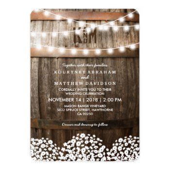 Rustic Country Wedding   String Of Lights Card by special_stationery at Zazzle