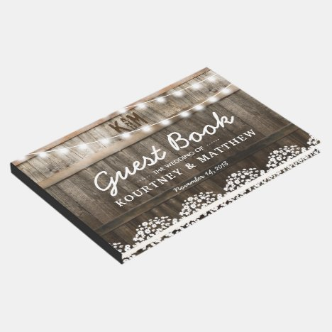 RUSTIC COUNTRY WEDDING   STRING OF LIGHTS GUEST BOOK