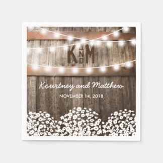 RUSTIC COUNTRY WEDDING | STRING OF LIGHTS NAPKIN