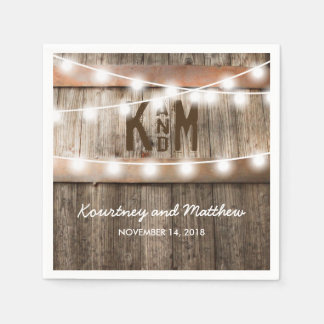 RUSTIC COUNTRY WEDDING | STRING OF LIGHTS PAPER NAPKIN
