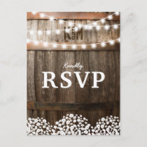 Rustic Country Wedding | String of Lights RSVP Invitation Postcard