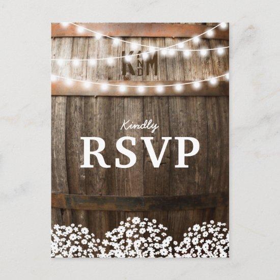 Rustic Country Wedding | String of Lights RSVP Invitation Postcard