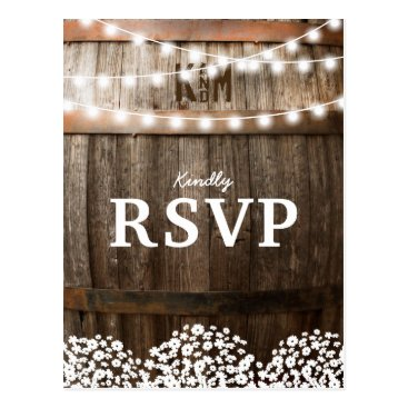 special_stationery RUSTIC COUNTRY WEDDING | STRING OF LIGHTS RSVP POSTCARD