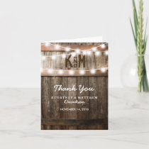 RUSTIC COUNTRY WEDDING   STRING OF LIGHTS THANK YOU CARD