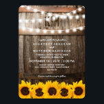 """Rustic Country Wedding   Sunflower String Lights Card<br><div class=""""desc"""">SUNFLOWER VINEYARD WEDDING INVITATION   Country barn dark oak barrel background,  twinkle string lights,  golden yellow sunflowers,  your monogram and modern wedding wording. Find other wood wedding invitations at http://www.zazzle.com/special_stationery</div>"""