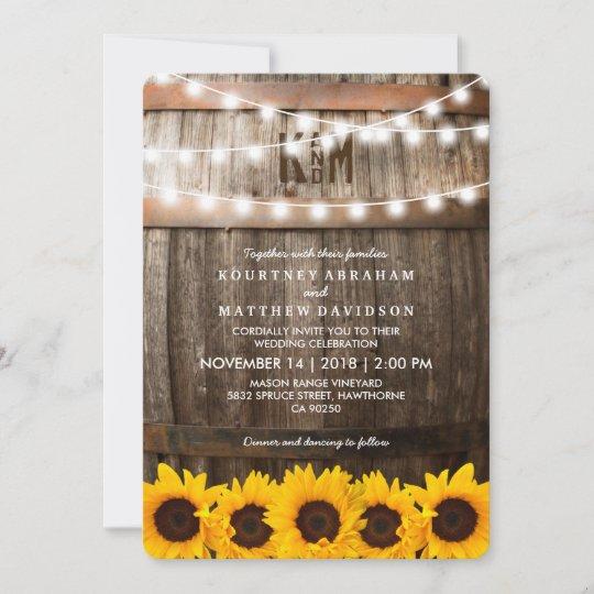 Rustic Country Wedding   Sunflower String Lights Invitation