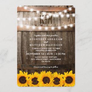 Rustic Country Wedding | Sunflower String Lights Invitation