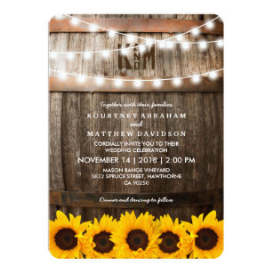 Rustic Country Wedding Sunflower String Lights Invitation