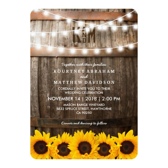 Rustic Country Wedding Sunflower String Lights Invitation Zazzle Com