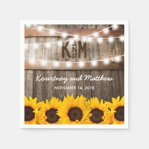 Rustic Country Wedding Sunflower String Lights Napkin