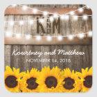 Rustic Country Wedding | Sunflower String Lights Square Sticker