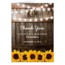 Rustic Country Wedding | Sunflower Thank You Card