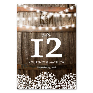 RUSTIC COUNTRY WEDDING TABLE NUMBERS CARD