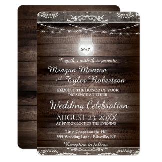 Rustic Country Wedding w/ Lace & Mason Jar Card