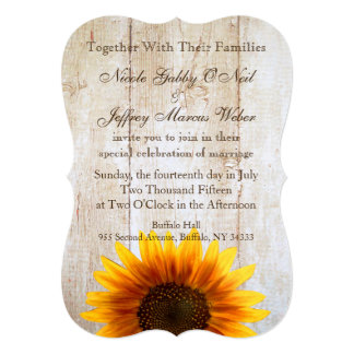 Rustic Country Wedding Wood Sunflowers Invitation