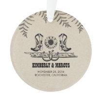 Rustic Country Western Barn Wedding Ornament