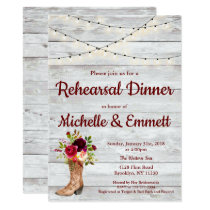 Rustic Country Western Boot Boho Rehearsal Dinner Invitation