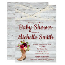 Rustic Country Western Boot Vintage Baby Shower Invitation