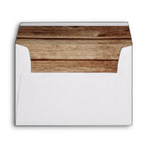 Rustic Country Western Brown Wood Vintage Wedding Envelope