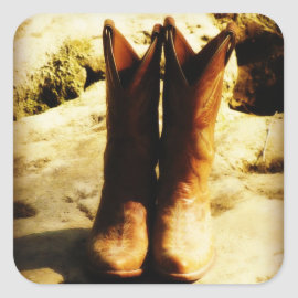 Rustic Country Western Cowboy Boots in Sunlight Square Stickers
