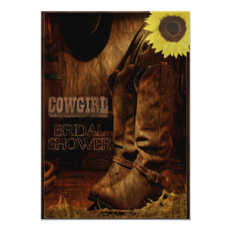 Rustic Country Western Cowgirl Bridal Shower 5x7 Paper Invitation Card