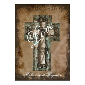 Rustic Country Western Cross Wedding Invitations