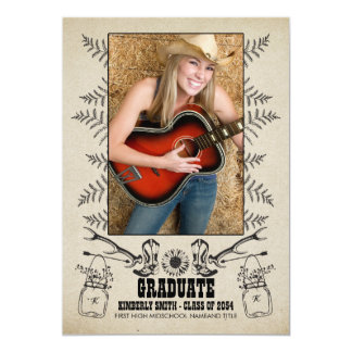 Rustic Country Western Graduation Party Photo Card