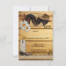 Rustic Country Western Horses RSVP Card