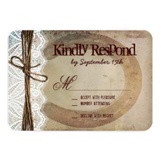 "Rustic Country Western Horseshoe Wedding RSVP Card 3.5"" X 5"" Invitation Card"