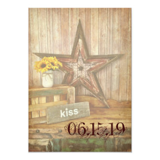 Rustic Country Western Star Kiss Wedding Invites