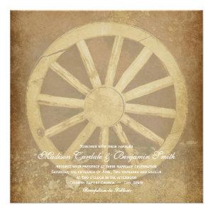 Rustic Country Western Wagon Wheel Wedding Invites