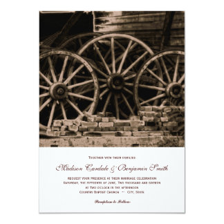 Rustic Country Western Wagon Wheel Wedding Invites Personalized Announcements