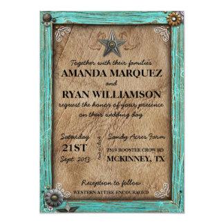 "Rustic Country Western Wedding Invitation 5"" X 7"" Invitation Card"