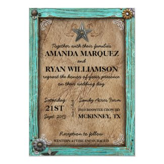 Rustic Country Western Wedding Invitation