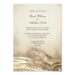 rustic country western wedding invitations
