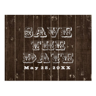Rustic Country Western Wedding SAVE THE DATE Type Postcard