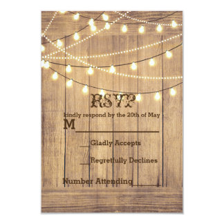 Rustic Country Western Wood & Lights RSVP Card