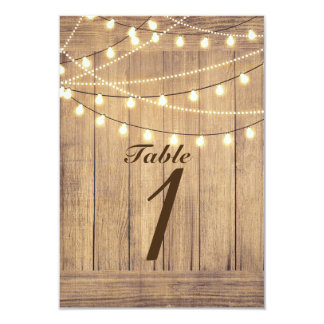 Rustic Country Western Wood & Lights Table Number Card