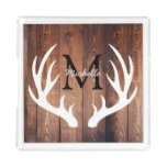 Rustic Country White Deer Antlers Barn Wood Acrylic Tray