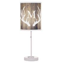 Rustic Country White Deer Antlers Barn Wood Table Lamp