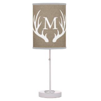 Rustic Country White Deer Antlers Burlap Custom Desk Lamp