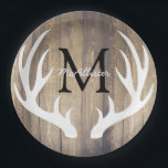 "Rustic Country White Deer Antlers Light Barn Wood Paper Plate<br><div class=""desc"">Deep,  rustic,  and country light brown wooden barn wood looking planks background with white deer antlers silhouette framing your choice of monogram letter in black and full family name in white script. These plates are great for weddings! Check out the matching paper napkins!</div>"