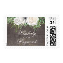 Rustic Country White Flowers Wedding Postage